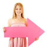 Happy girl holding pink arrow Royalty Free Stock Photos