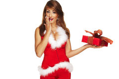 Happy girl holding presents Royalty Free Stock Photos