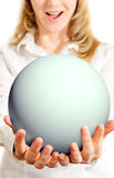 Happy girl holding sphere Stock Photo