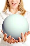 Happy girl holding sphere Stock Photo