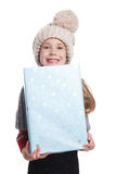 Happy girl holding a wrapped box Stock Photography