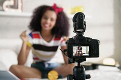 Girl Recording Vlog Video Blog At Home With Camera Royalty Free Stock Photography