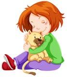 Happy girl hugging pet cat. Illustration vector illustration