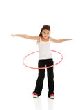 Happy girl with hula hoop Stock Image