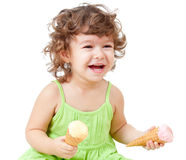 Happy girl with ice cream in studio isolated Stock Image