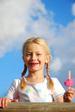 Happy girl with ice lolly Royalty Free Stock Images