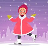 Happy girl  ice skates on a skating rink in the background of a winter landscape. Vector illustration. In cartoon style Stock Image