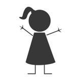 Happy girl icon stick figure Royalty Free Stock Photos