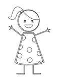 Happy girl icon stick figure Stock Images