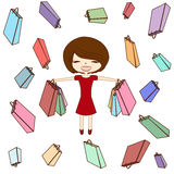 Happy girl,  illustration woman and different shopping bag on sale background  Royalty Free Stock Photo