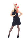 Happy girl in imp costume over white Royalty Free Stock Image