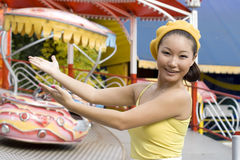Happy Girl In Amusement Park Stock Photos