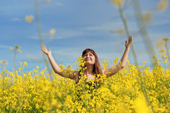 Happy Girl In Flower Meadow. Stock Images