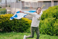 Happy Girl with Israel flag. royalty free stock images