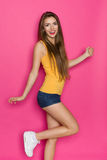 Happy Girl In Jeans Shorts Stock Images