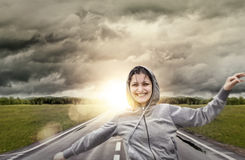 Happy girl jogging Stock Photography