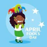 Happy girl with joker hat april fools day card. Vector illustration design royalty free illustration