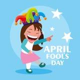 Happy girl with joker hat april fools day card. Vector illustration design stock illustration