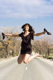 Happy girl jumping Royalty Free Stock Photo