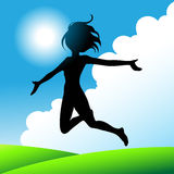 Happy girl jumping. A girl jumping and running around with joy stock illustration