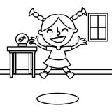 Happy girl jumping coloring page Royalty Free Stock Photos