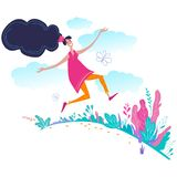 Happy girl jumping in the field. Vector flat illustration royalty free illustration