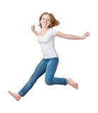 Happy girl jumping isolated on white Stock Photography