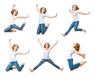 Happy girl jumping isolated on white, collage, set. Happy girl jumping isolated on white background, collage, set stock image