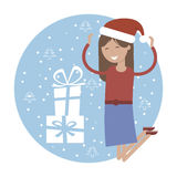Happy Girl in Jumping for Joy Near Xmas Gifts Royalty Free Stock Images