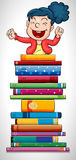 Happy girl jumping over stack of books Stock Photos
