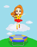 Happy girl jumping on the trampoline. Illustration vector illustration