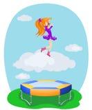 Happy girl jumping on the trampoline. Illustration royalty free illustration
