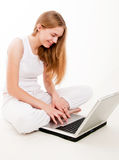 Happy Girl on Laptop Royalty Free Stock Photography