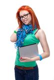 Happy girl with laptop. Over white Stock Photography