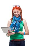 Happy girl with laptop. Over white Royalty Free Stock Image