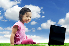 Happy girl with laptop Stock Photography