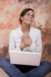 Happy girl with laptop Royalty Free Stock Photo