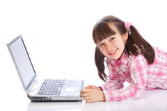 Happy girl with laptop Stock Photo