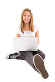 Happy girl with laptop - isolated on white Stock Image