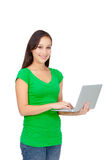 Happy girl with a laptop Royalty Free Stock Image