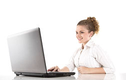 Happy girl with laptop - woman isolated on white background Royalty Free Stock Photo