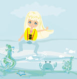 Happy girl in lifejacket. Illustration Stock Image