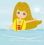 Happy girl in lifejacket Stock Photos