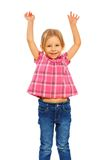 Happy girl with lifted hands Stock Photography
