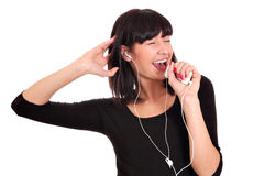 Happy girl listening music Stock Photography