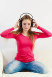 Happy girl listening to music. Royalty Free Stock Photography