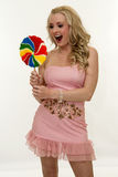 Happy girl with lollipop Stock Photography
