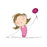 Happy girl with lollipop. Original hand drawn illustration of happy girl with lollipop Royalty Free Stock Images