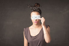 Happy girl looking with hand drawn paper eye glasses Stock Photography
