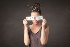 Happy girl looking with hand drawn paper eye glasses Royalty Free Stock Image